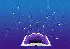 Раскройте книгу на голубой предпосылке Многомерная диаграмма и глубоко учить стоковая фотография