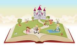 Раскройте книгу с принцессами и принцами шаржа иллюстрация штока