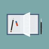 Раскройте книгу с ручкой, карандашем и ластиком Иллюстрация вектора взгляд сверху Стоковые Изображения RF