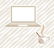 Раскройте компьтер-книжку с кофе Стоковые Фотографии RF