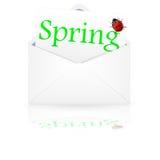 Раскройте конверт с весной надписи Стоковая Фотография