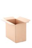 Раскройте коричневую рифлёную коробку коробки над белизной Стоковые Фотографии RF
