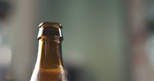 Раскройте коричневый крупный план пивной бутылки Стоковые Изображения RF