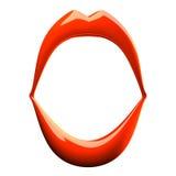 Раскройте красные губы на белизне Стоковая Фотография