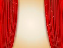 Раскройте красные занавесы с блестящей предпосылкой звезд иллюстрация штока