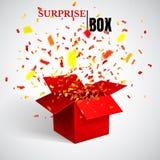Раскройте красные подарочную коробку и Confetti сярприз также вектор иллюстрации притяжки corel иллюстрация штока