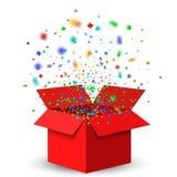 Раскройте красные подарочную коробку и Confetti иллюстрация штока