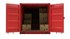 Раскройте красный контейнер для перевозок перевозки груза при картонные коробки изолированные на белизне иллюстрация вектора