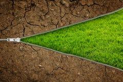 Раскройте молнию с сухой почвой на свежей зеленой траве с космосом экземпляра для вашего текста Стоковое Изображение RF