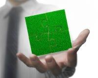 Раскройте мужскую руку с зеленой травой мозаик Стоковые Фотографии RF