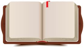 Раскройте дневник книги с закладкой Стоковое Изображение RF
