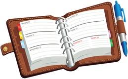 Раскройте дневник leatherbound Стоковое фото RF