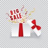Раскройте подарочную коробку с большой продажей Стоковое Изображение