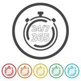 Раскройте 24/7 - 365, 24/7 365, 24/7 365 подписывают, 6 включенных цветов иллюстрация вектора