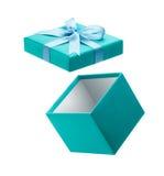 Раскройте подарочную коробку изолированную на белизне стоковое изображение rf