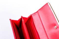 Раскройте пустое красное женское портмоне Стоковые Изображения