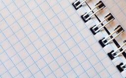 Раскройте пустой блокнот в клетке с спиральным изгибом Стоковая Фотография RF