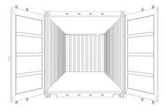Раскройте пустой грузовой контейнер стиль Провод-рамки иллюстрация штока