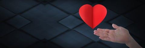 раскройте руку и сердце стоковое изображение