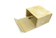 Раскройте старую коричневую бумажную коробку Стоковое Изображение