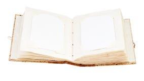 Раскройте старый фотоальбом с местом для ваших изолированных фото Стоковое Изображение