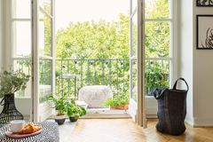 Раскройте стеклянную дверь от интерьера живущей комнаты в сад города на солнечном балконе с зелеными растениями стоковое фото