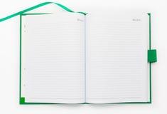 Раскройте страницу зеленой тетради Стоковая Фотография RF