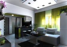 Раскройте сцену 3 живущей комнаты и кухни концепции, перевод 3D Стоковое Фото