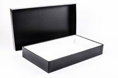 Раскройте черную картонную коробку Стоковое Изображение