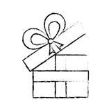 раскройте эскиз годовщины ленты подарочной коробки декоративный Стоковое фото RF