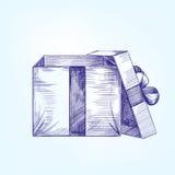 Раскройте llustration вектора подарочной коробки нарисованное рукой Стоковое Фото