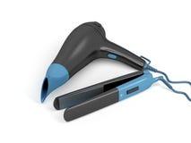 Раскручиватель фена для волос и волос иллюстрация вектора