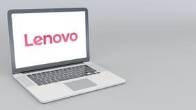 Раскрывая и закрывая компьтер-книжка с логотипом Lenovo перевод 4K редакционный 3D Стоковая Фотография