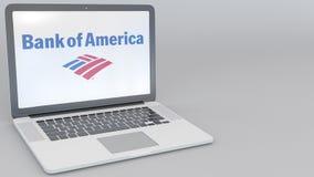 Раскрывая и закрывая компьтер-книжка с логотипом Государственного банка Америки на экране Зажим передовицы 4K компьютерной технол иллюстрация вектора