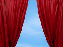 Раскрывая красный занавес принципиальная схема освобождает Стоковая Фотография