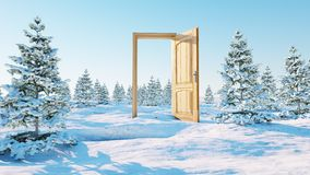 раскрытая дверь Портал в зиме перевод 3d Стоковое Фото