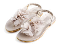 Раскрытая женщина toes ботинки лета плоские Стоковая Фотография