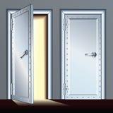 Раскрытая и закрытая дверь свода. Иллюстрация вектора бесплатная иллюстрация