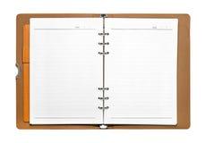Раскрытая книга изолированная на белой предпосылке Пустая страница с линиями бумагой Путь клиппирования стоковые фото