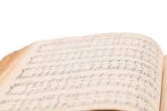 Раскрытая книга музыкального состава Стоковая Фотография