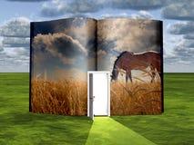 Раскрытая книга с лошадью Стоковые Изображения RF