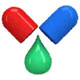 Раскрытая красная голубая капсула пилюльки Вектор Dotwork Стоковое Фото