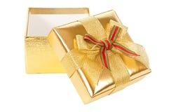 раскрытое золото подарка коробки Стоковые Изображения