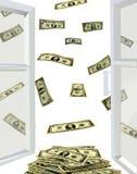 Раскрытое окно и доллары летая прочь Стоковые Изображения RF