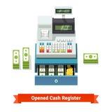Раскрытые деньги кассового аппарата, бумажных и монетки внутрь Стоковое фото RF