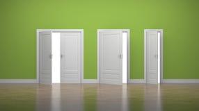 Раскрытые толстые и тонкие двери впишите выход владение домашнего ключа принципиальной схемы дела золотистое достигая небо к Зеле иллюстрация штока
