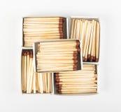 Раскрытые Matchboxes с спичками Брайна Стоковые Изображения RF