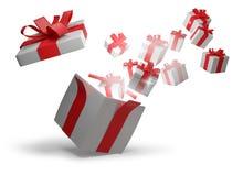 Раскрытый подарок на рождество 3d-illustration Иллюстрация штока