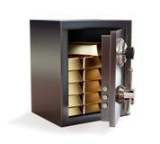 Раскрытый сейф металла при изолированное золото в слитках бесплатная иллюстрация