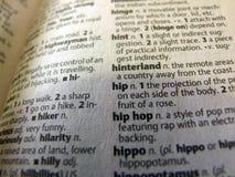 Раскрытый словарь - тазобедренное определение хмеля Стоковое Изображение